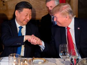 Chinese President Xi Jinping and US President Donald Trump meet at Trump's Mar-a-Lago estate in West Palm Beach, Florida