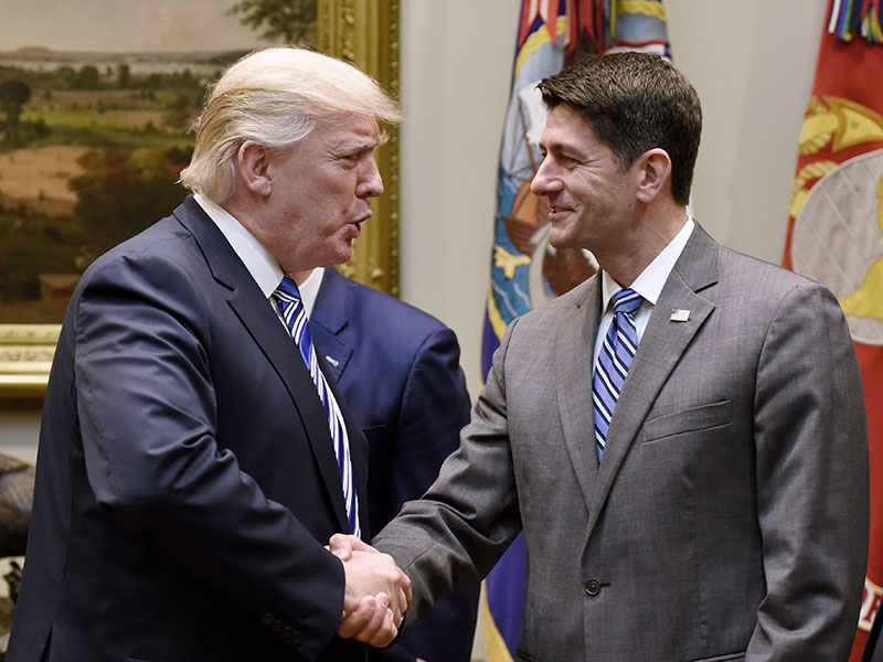 US President Donald Trump and Speaker of the US House of Representatives Paul Ryan. Ryan has reaffirmed Trump's commitment to imposing major tax reforms by the end of 2017