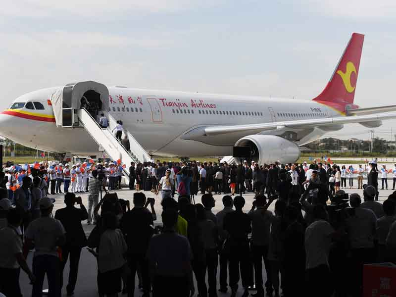 The first Airbus A330 plane was delivered to China at the opening of the company's original completion centre in Tianjin