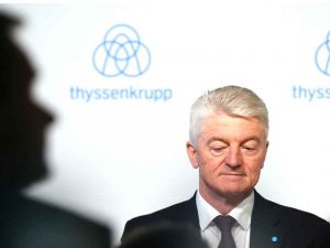 Heinrich Hiesinger, CEO of ThyssenKrupp, announced the merger with Tata at press conference in Germany