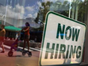 The number of job openings in the US reached a record high of 6.14 million in July