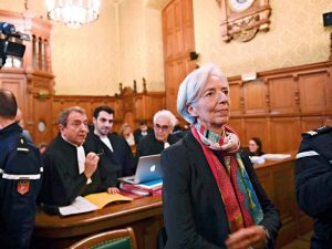 Lagarde in a Paris courtroom prior to the start of her fraud trial
