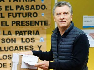 Argentine President Mauricio Macri casts his vote in the 2017 primary elections