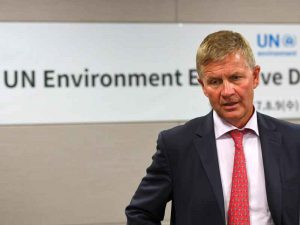Erik Solheim, Head of the UN Environment programme, speaks during an interview with Agence France-Presse in Seoul