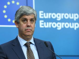 Centeno attends a press conference on his election as new Eurogroup president at the European Council in Brussels