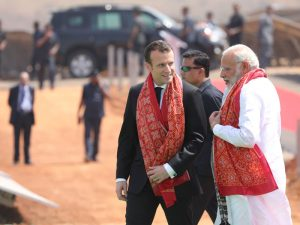 French President Emmanuel Macron and Indian Prime Minister Narendra Modi at the opening of the new solar power plant in Mirzapur, India