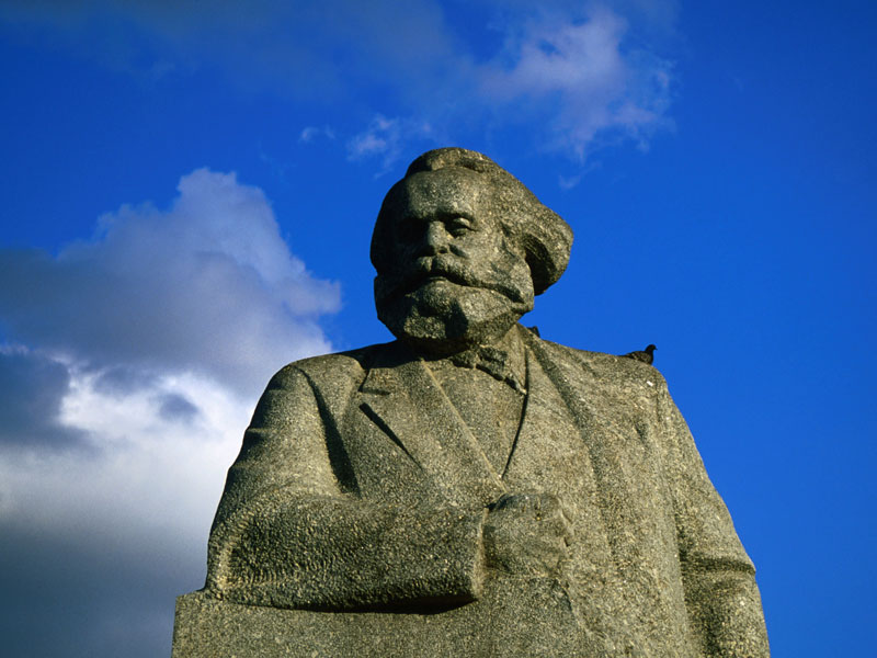 Karl Marx's statue stands at Teatralnaya Square, Moscow