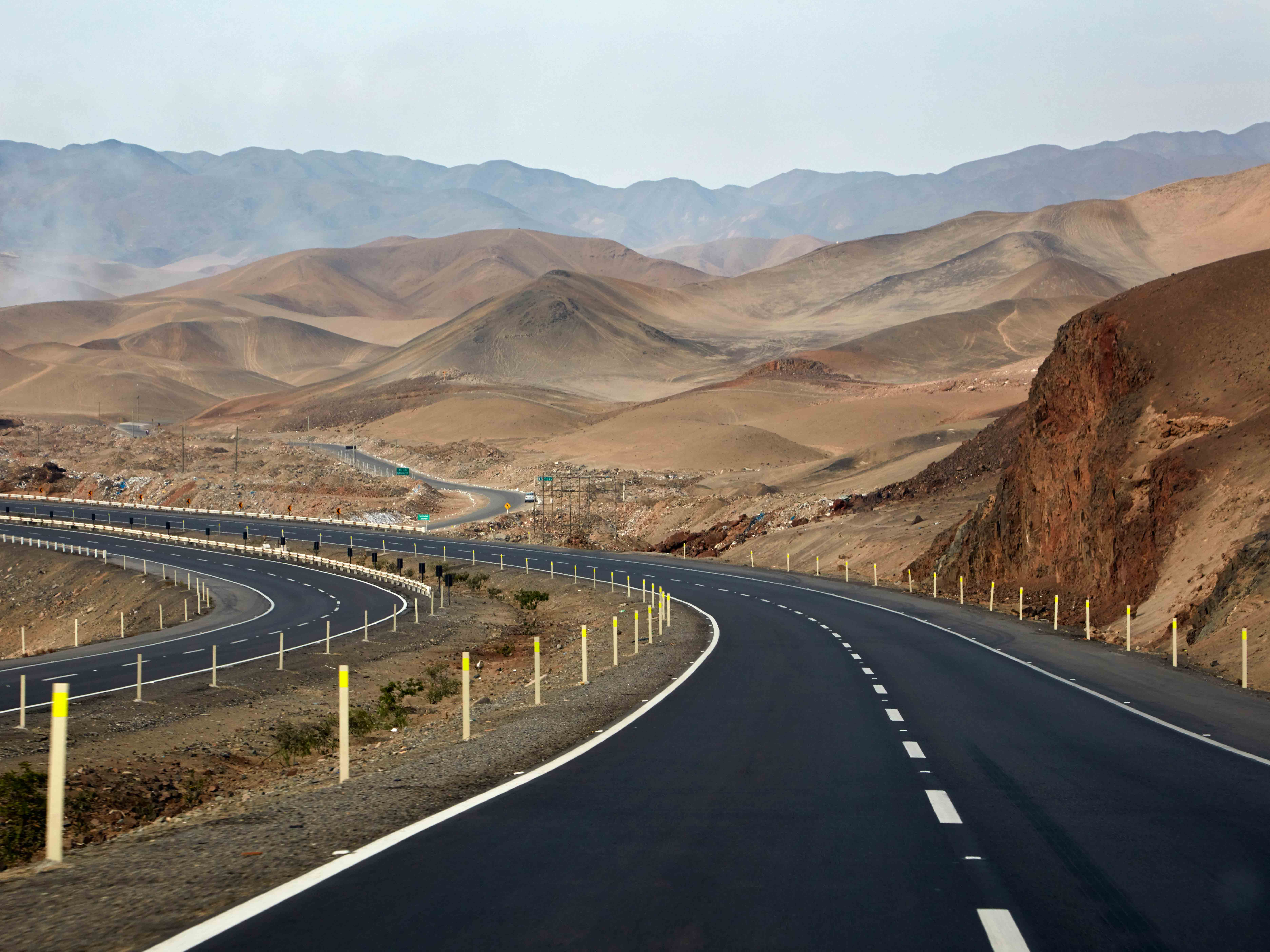 The Pan-American Highway, located south of Lima, Peru. Government-backed projects have stepped in to help bridge Peru's current infrastructure gap
