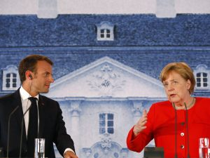 Chancellor Merkel and President Macron announce their Eurozone budget proposal during German-French government consultations