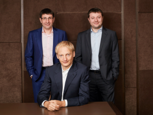 (L-R) Dmitry Gusev, CEO and co-owner; Dmitry Khotimskiy, co-owner; and Sergey Khotimskiy, First Deputy CEO and co-owner of Sovcombank