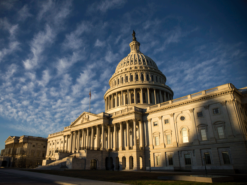 The U.S. Capitol building, Washington DC. The Democrats were able to seize control of the House of Representatives in the midterm elections, while the Republicans kept their grip on the Senate