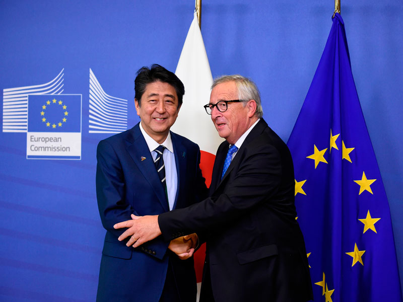 Japanese Prime Minister Shinzo Abe and European Commission President Jean-Claude Juncker meet at the European Council in Brussels in October