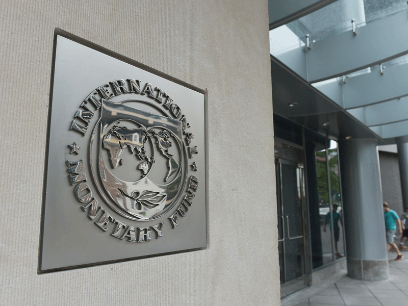 The seal of the IMF on its headquarters in Washington DC. Ukraine's government secured the payments from the organisation after it unveiled a far more fiscally responsible new budget