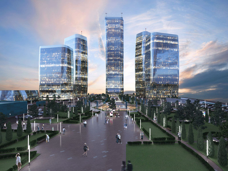 Rendering of Minsk World Financial Centre in Minsk, Belarus. The project is Dana Holdings' largest construction to date and is the biggest single development project in the whole of Europe