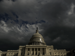 Dark skies over the US Capitol Building in Washington DC. Trade tensions and deteriorating financing conditions are cited as the key reasons for the World Bank's bleak forecast