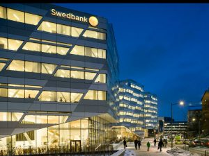 Swedbank head office in Stockholm, Sweden. There is an atmosphere of suspicion surrounding Nordic banks at present following the scandal that recently engulfed Denmark's Danske Bank