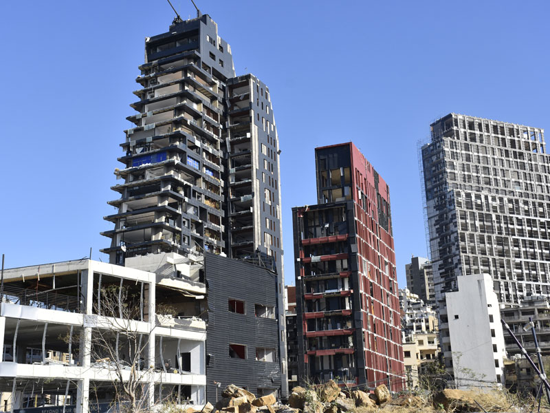 A view of damaged buildings in the Lebanese capital following the warehouse explosions that took place on the 4th August, 2020