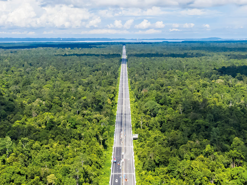 When complete the Temburong Bridge in Brunei will be 30km long