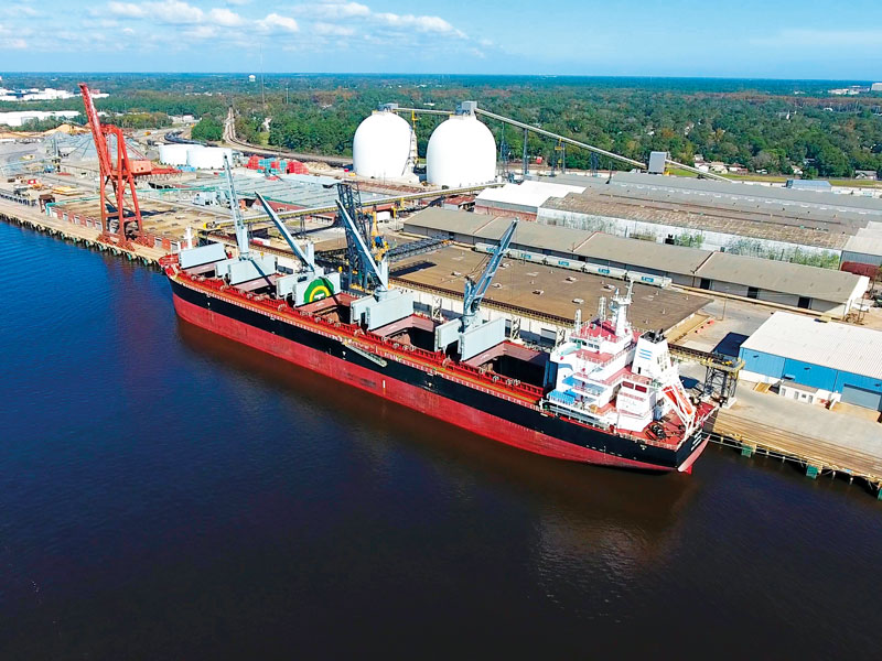 Enviva's port in Wilmington, NC, exports wood pellets to power and heat generators around the world