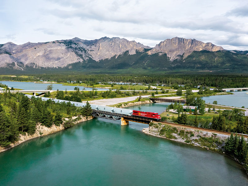 A Canadian Pacific train traversing the Canadian Rocky Mountains