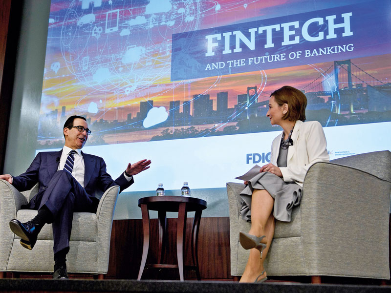 Jelena McWilliams (right) Chairman of the Federal Deposit Insurance Corporation during a conference on fintech