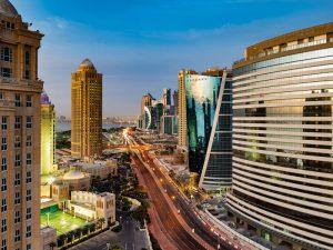 The Ooredoo Tower in Doha, Qatar
